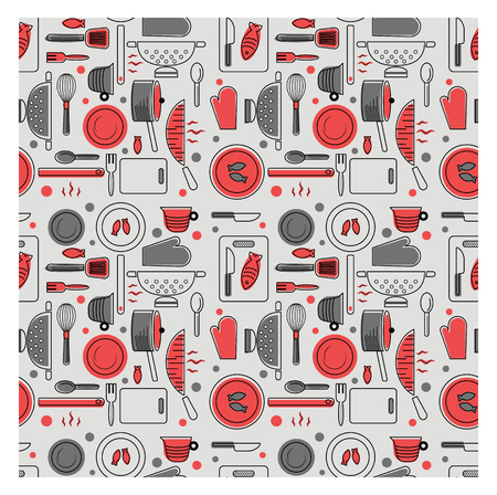 red kitchen pattern flat illustration. Fabric and other surface seamless pattern series.