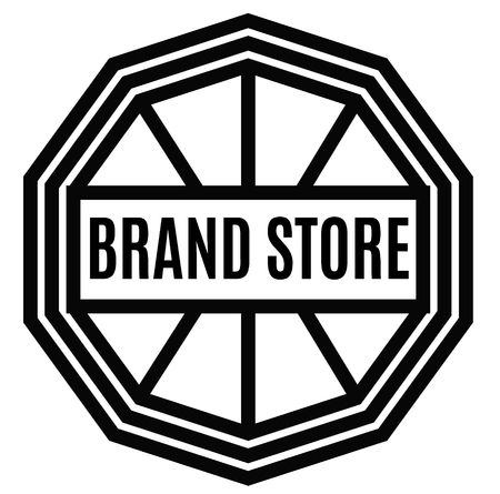 BRAND STORE stamp on white background. Labels and stamps series.