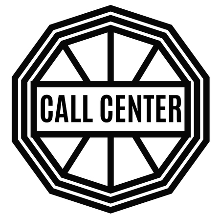 CALL CENTER stamp on white background. Labels and stamps series.