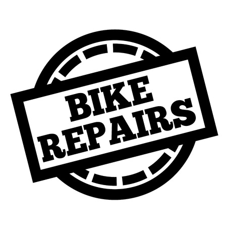 BIKE REPAIRS stamp on white background. Labels and stamps series. Illustration