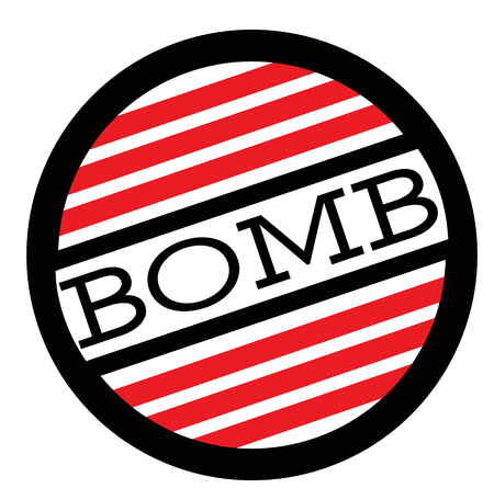 BOMB stamp on white background. Labels and stamps series.