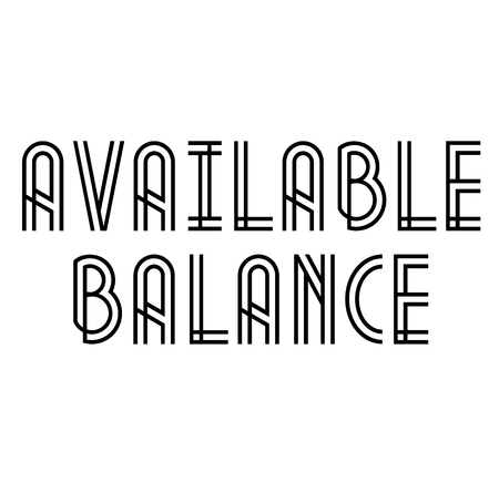 AVAILABLE BALANCE stamp on white
