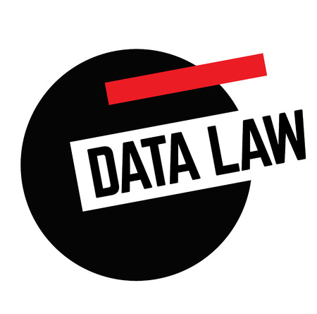 DATA LAW stamp on white background. Labels and stamps series.