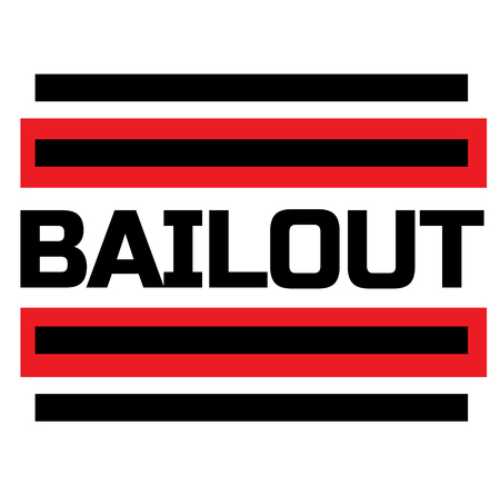 BAILOUT stamp on white background. Labels and stamps series.