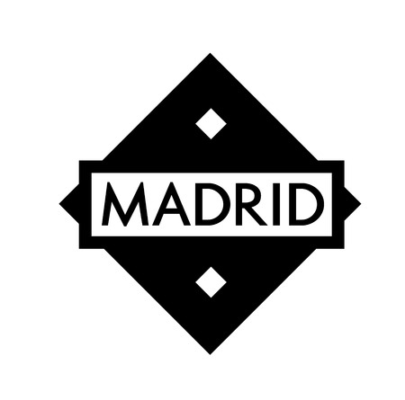 MADRID stamp on white background. Labels and stamps series.