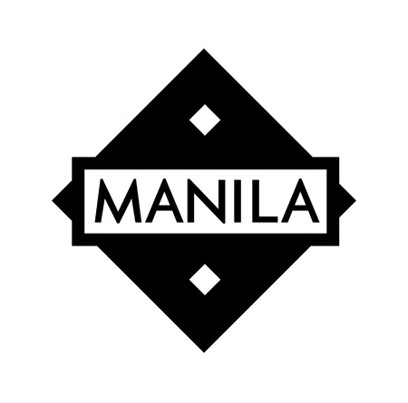 MANILA stamp on white background. Labels and stamps series. Ilustrace