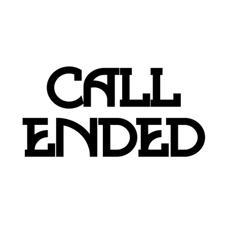 CALL ENDED stamp on white