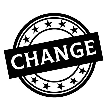 CHANGE stamp on white