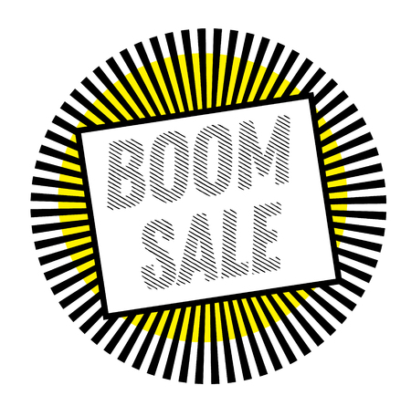 BOOM SALE stamp on white background. Labels and stamps series.