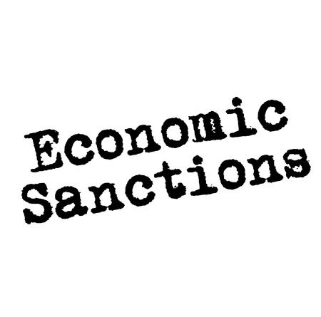 ECONOMIC SANCTIONS stamp on white