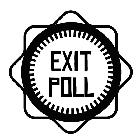 EXIT POLL stamp on white background. Signs and symbols series. Çizim