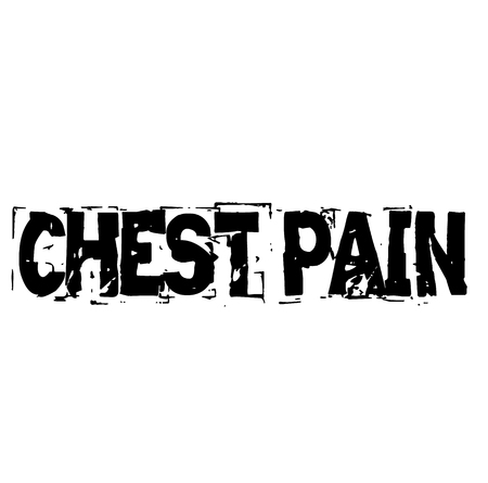 CHEST PAIN stamp on white