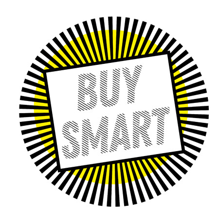 BUY SMART stamp on white background. Labels and stamps series. 向量圖像