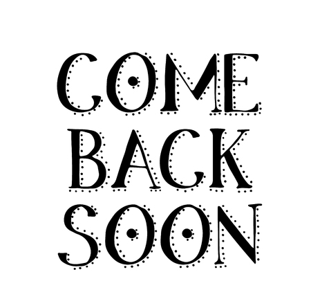 COME BACK SOON stamp on white Фото со стока - 120242623