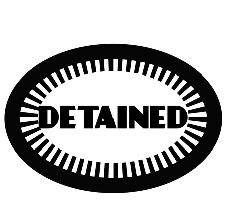 DETAINED stamp on white