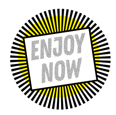ENJOY NOW stamp on white background. Labels and stamps series. 일러스트