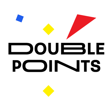 DOUBLE POINTS stamp on white background. Labels and stamps series.