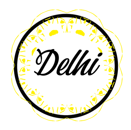 DELHI stamp on white background. Signs and symbols series.