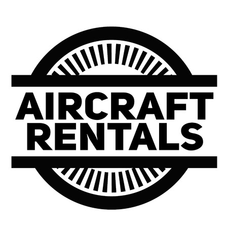 AIRCRAFT RENTALS stamp on white background. Signs and symbols series.