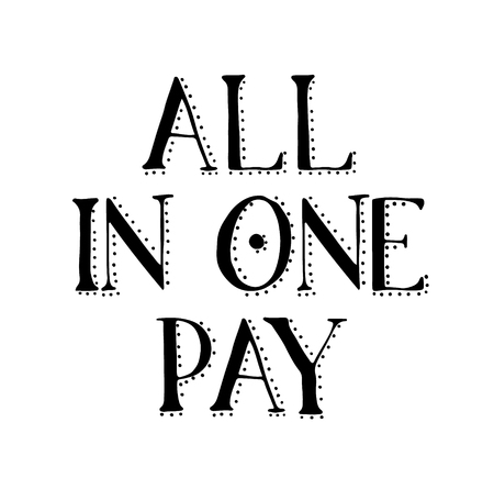 ALL IN ONE PAY stamp on white
