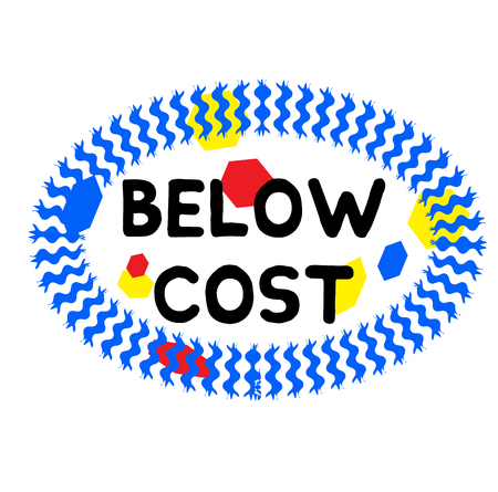 BELOW COST stamp on white background. Signs and symbols series.