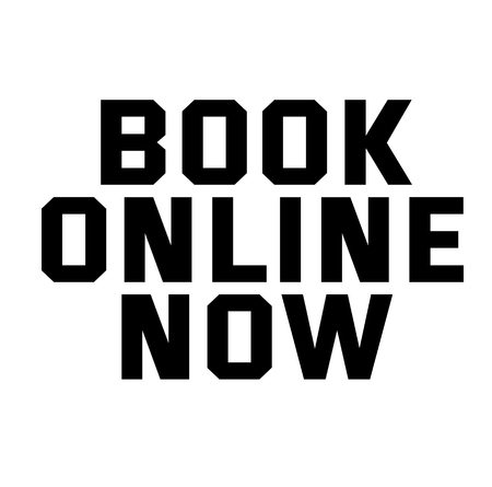 BOOK ONLINE NOW stamp on white
