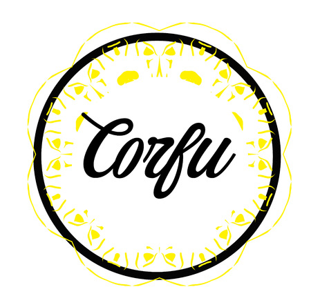 CORFU stamp on white background. Signs and symbols series.