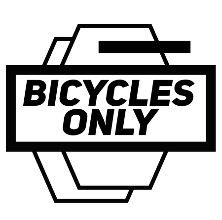 BICYCLES ONLY stamp on white background. Signs and symbols series.