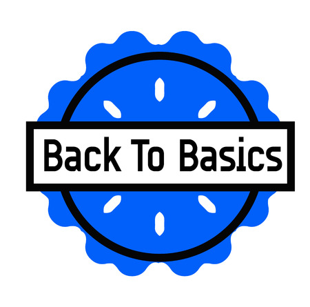 BACK TO BASICS stamp on white background. Signs and symbols series. 向量圖像