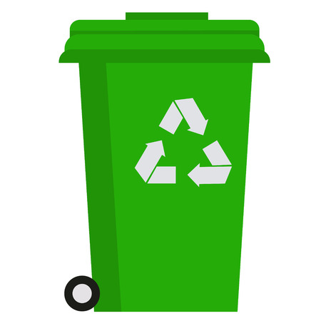 Rubbish bin flat illustration on white Vettoriali