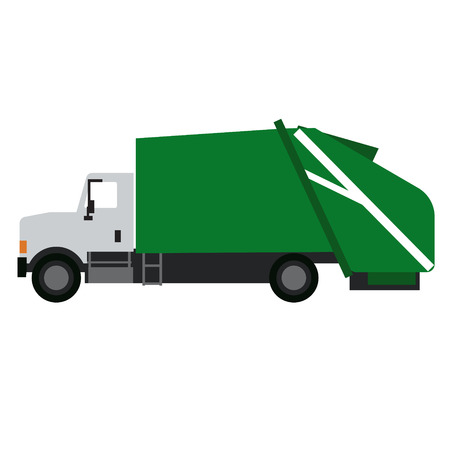 Garbage truck flat illustration. City life and transport series.