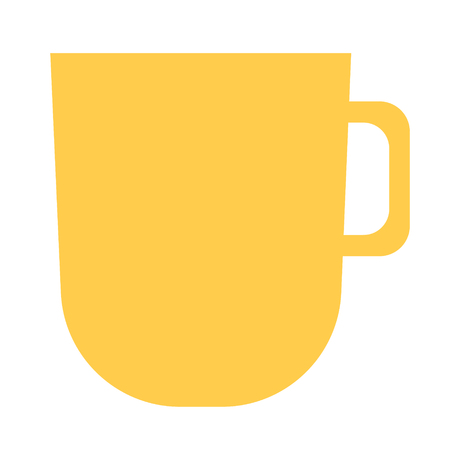 Yellow cup flat illustration. Food and home kitchen series.
