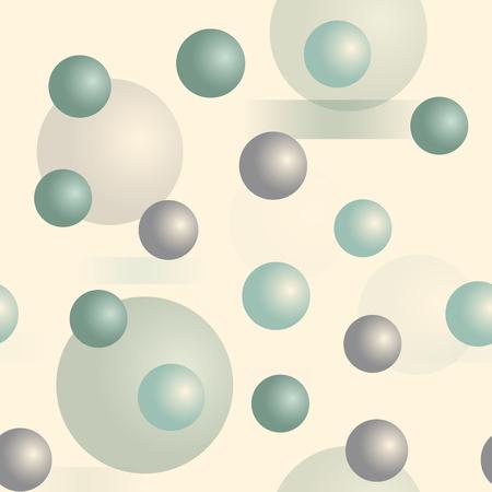Esferas 3D sin patrón. Serie tridimensional de profundidad. Ilustración de vector