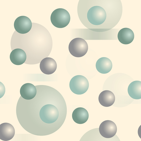 Nahtloses Muster der 3D-Kugeln. Dreidimensionale Tiefenreihe. Vektorgrafik