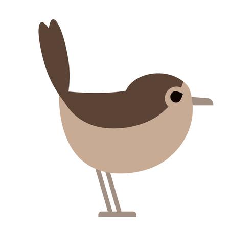small brown bird flat illustration. Forest wild life animals series. Иллюстрация