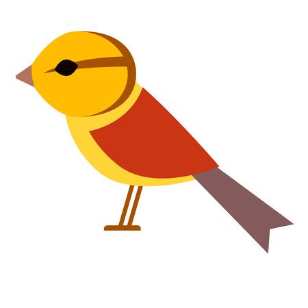 yellow bird flat illustration. Forest wild life animals series. Иллюстрация