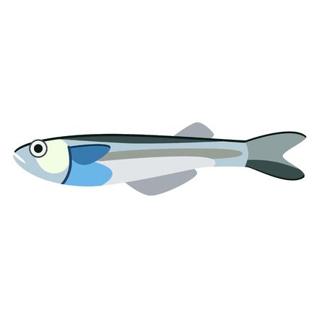 blue fish flat illustration. Marine and underwater series.