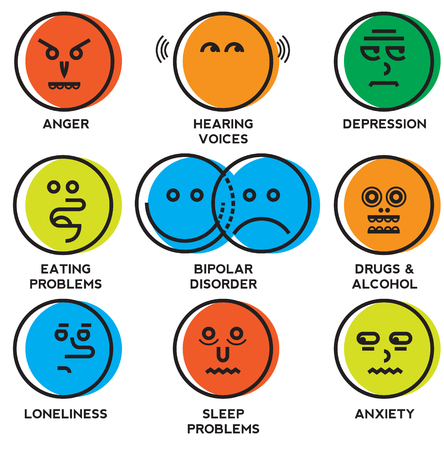 Mental health problems icons Stock Vector - 120242267
