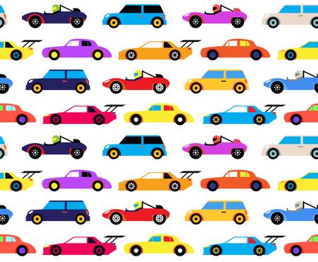 Modello senza cuciture di auto da corsa, stile cartone animato. Design del modello di superficie per bambini di tutte le età. Vetture da corsa colorate su pista, circuito.