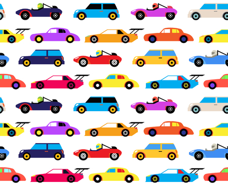 Racing cars seamless pattern, cartoon style. Surface pattern design for children of all age. Colorful racing cars on race track, circuit.