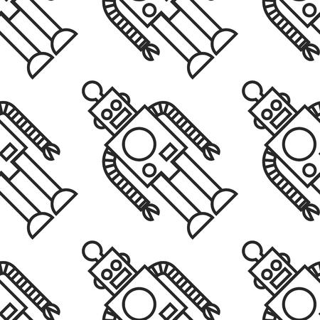 Black and white line art seamless robot pattern 向量圖像