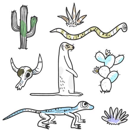 Desert animals and plants hand drawn illustration. Lizard, snake, meerkat, cactus skull Illustration
