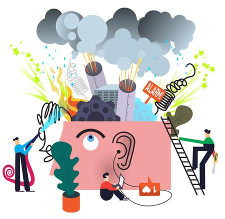Tratamiento de trastornos mentales Ilustración de vector