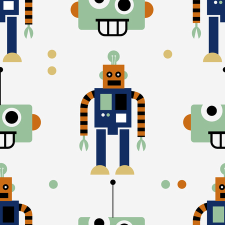 Geometric color robot seamless pattern. Repeat surface design 向量圖像
