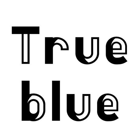true blue stamp on white background. Sign label sticker.