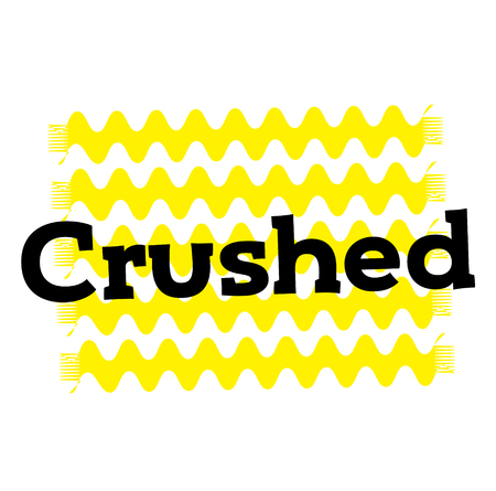 crushed stamp on white background. Sign label sticker.