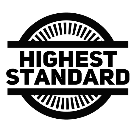 HÖCHSTER STANDARD-Stempel auf weißem Hintergrund. Zeichen- und Symbolserie.