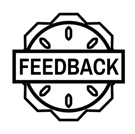FEEDBACK stamp on white background. Signs and symbols series.