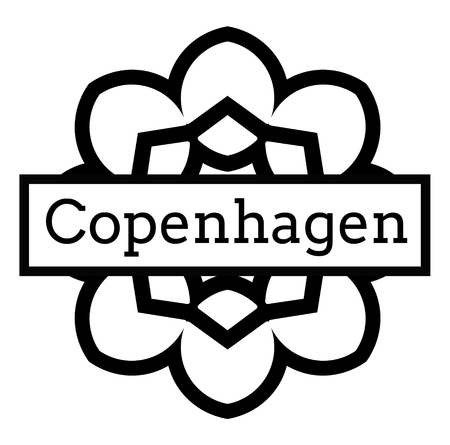 COPENHAGEN stamp on white background. Signs and symbols series.