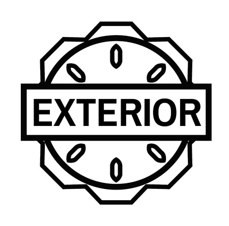 EXTERIOR stamp on white background. Signs and symbols series. Illustration